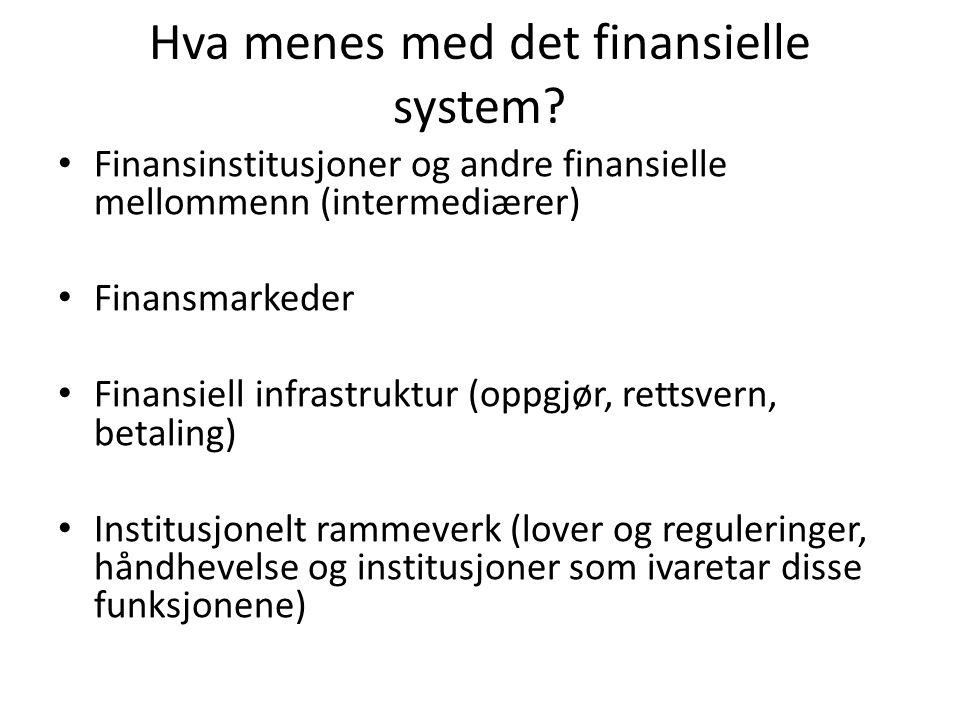 Hva menes med det finansielle system? Finansinstitusjoner og andre finansielle mellommenn (intermediærer) Finansmarkeder Finansiell infrastruktur (opp