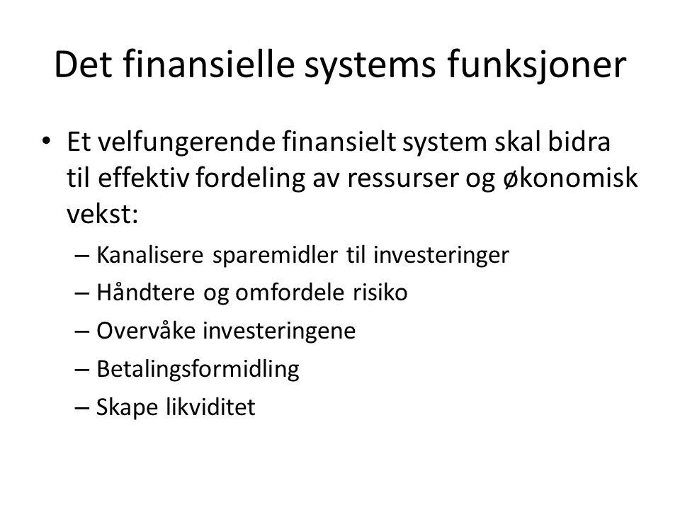 Det finansielle systems funksjoner Et velfungerende finansielt system skal bidra til effektiv fordeling av ressurser og økonomisk vekst: – Kanalisere