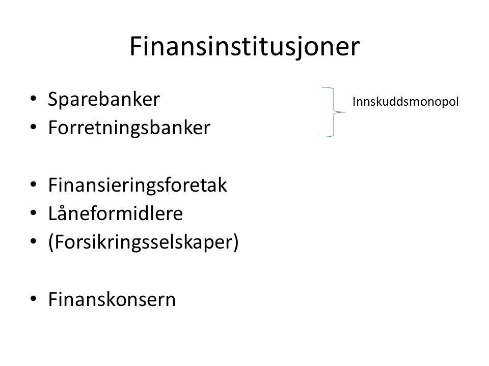 Finansinstitusjoner Sparebanker Innskuddsmonopol Forretningsbanker Finansieringsforetak Låneformidlere (Forsikringsselskaper) Finanskonsern