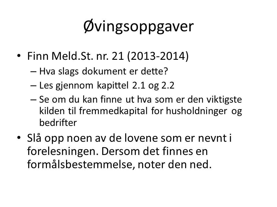 Øvingsoppgaver Finn Meld.St. nr. 21 (2013-2014) – Hva slags dokument er dette? – Les gjennom kapittel 2.1 og 2.2 – Se om du kan finne ut hva som er de