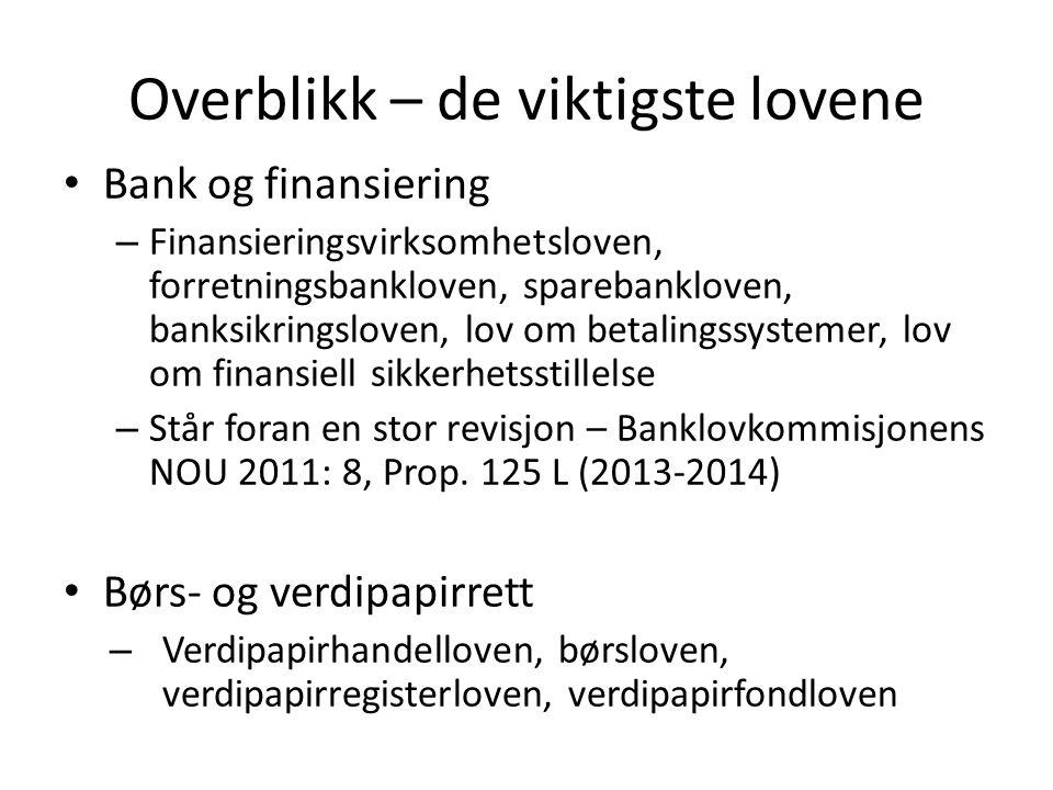 Overblikk – de viktigste lovene Bank og finansiering – Finansieringsvirksomhetsloven, forretningsbankloven, sparebankloven, banksikringsloven, lov om
