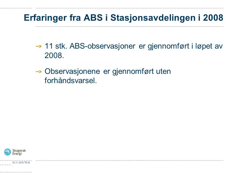 02.01.2009.TEVE. Erfaringer fra ABS i Stasjonsavdelingen i 2008 11 stk. ABS-observasjoner er gjennomført i løpet av 2008. Observasjonene er gjennomfør