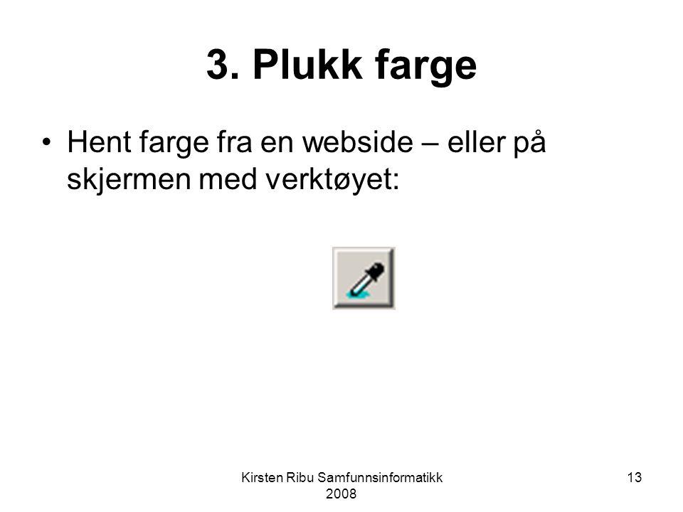 Kirsten Ribu Samfunnsinformatikk 2008 13 3.