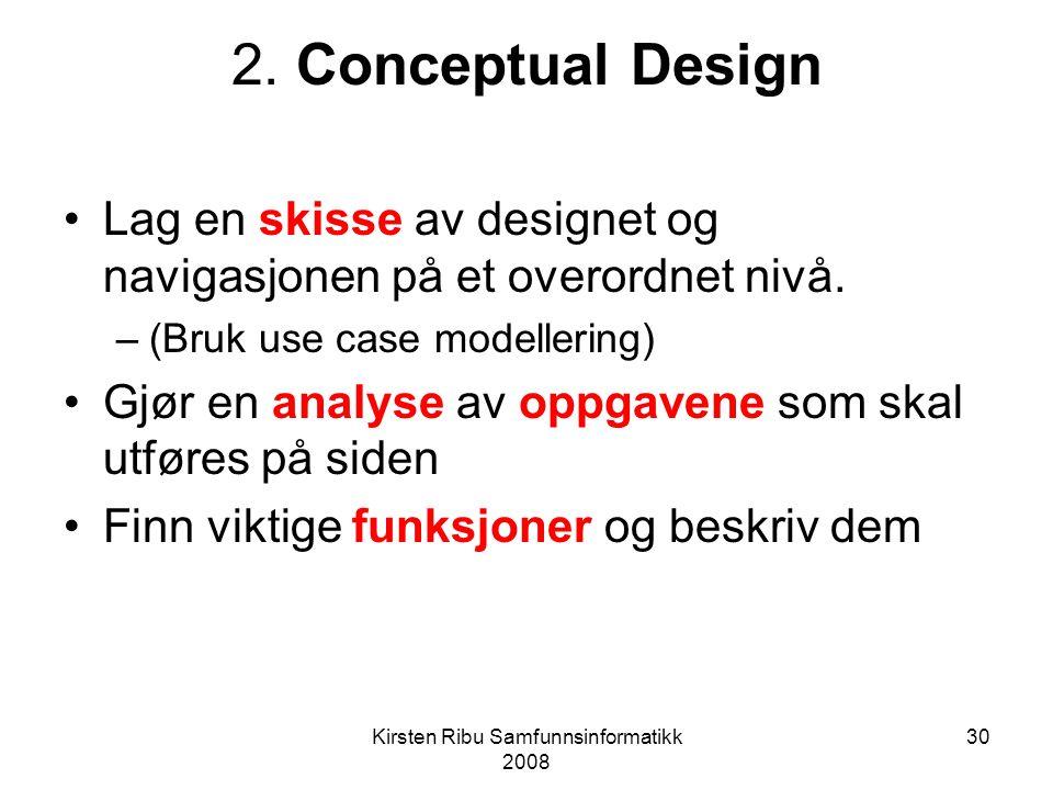 Kirsten Ribu Samfunnsinformatikk 2008 30 2.