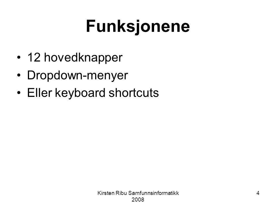Kirsten Ribu Samfunnsinformatikk 2008 4 Funksjonene 12 hovedknapper Dropdown-menyer Eller keyboard shortcuts