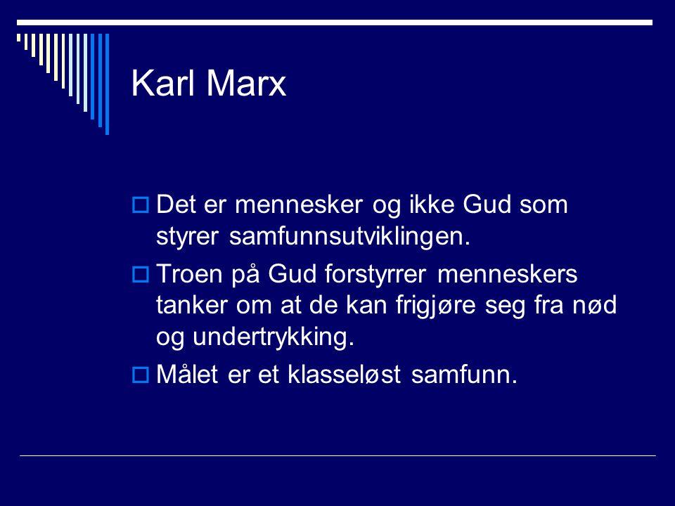 Karl Marx  Det er mennesker og ikke Gud som styrer samfunnsutviklingen.  Troen på Gud forstyrrer menneskers tanker om at de kan frigjøre seg fra nød