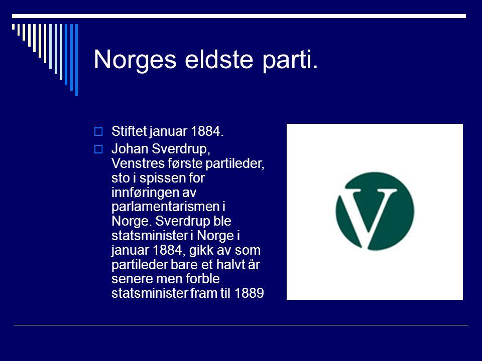 Norges eldste parti.  Stiftet januar 1884.  Johan Sverdrup, Venstres første partileder, sto i spissen for innføringen av parlamentarismen i Norge. S