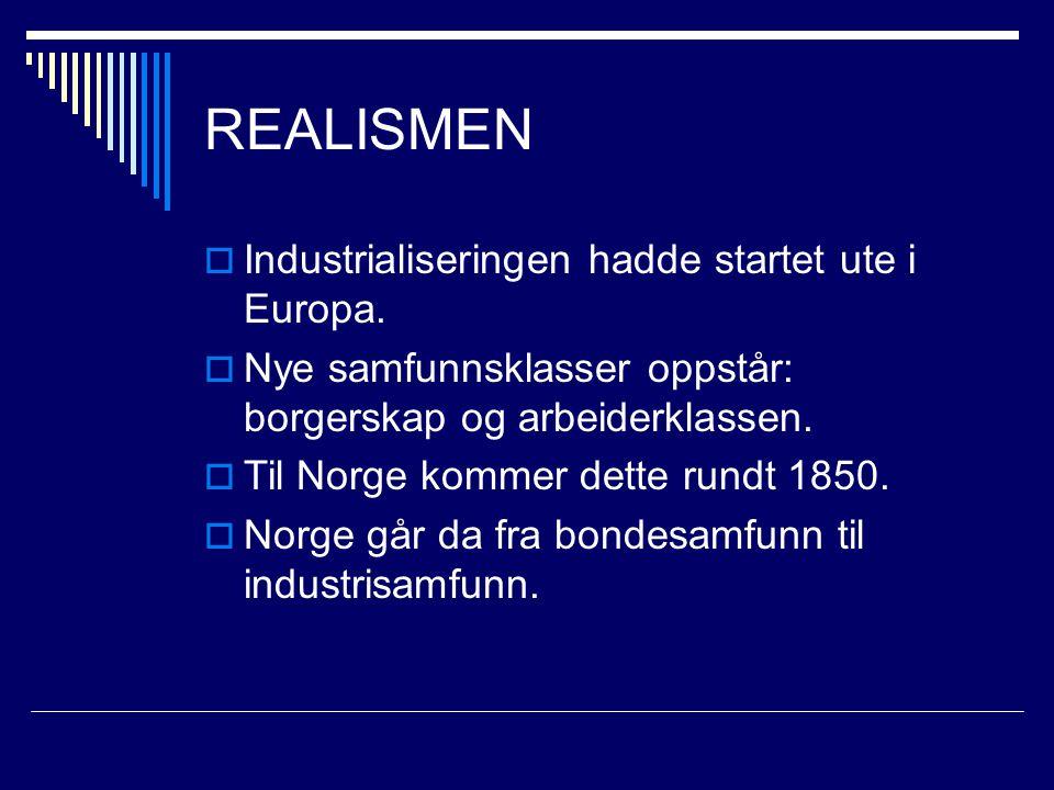 REALISMEN  Industrialiseringen hadde startet ute i Europa.  Nye samfunnsklasser oppstår: borgerskap og arbeiderklassen.  Til Norge kommer dette run