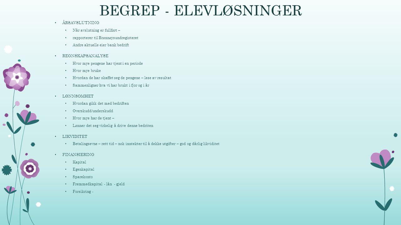 BEGREP - ELEVLØSNINGER ÅRSAVSLUTNING Når avslutning er fullført – rapporterer til Brønnøysundregisteret Andre aktuelle eier bank bedrift REGNSKAPSANAL