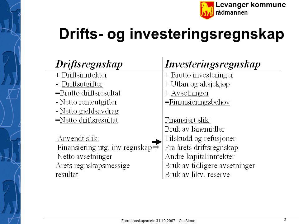 Levanger kommune rådmannen Formannskapsmøte 31.10.2007 – Ola Stene 13 Produktivitet/enhetskostnader