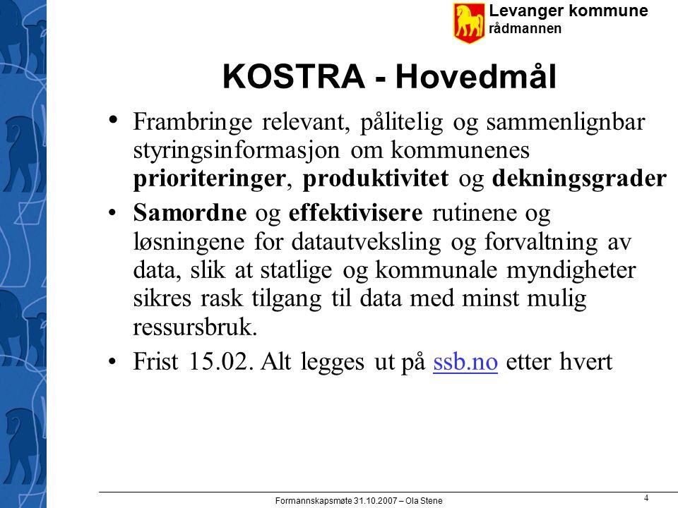 Levanger kommune rådmannen Formannskapsmøte 31.10.2007 – Ola Stene Konto-begrepene i KOSTRA Klasse Funksjon Art Ansvar Begrepene kan grupperes på ulikt vis
