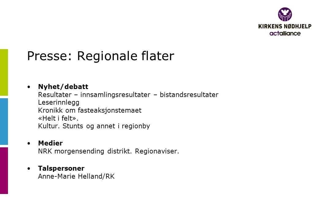 Presse: Regionale flater Nyhet/debatt Resultater – innsamlingsresultater – bistandsresultater Leserinnlegg Kronikk om fasteaksjonstemaet «Helt i felt»