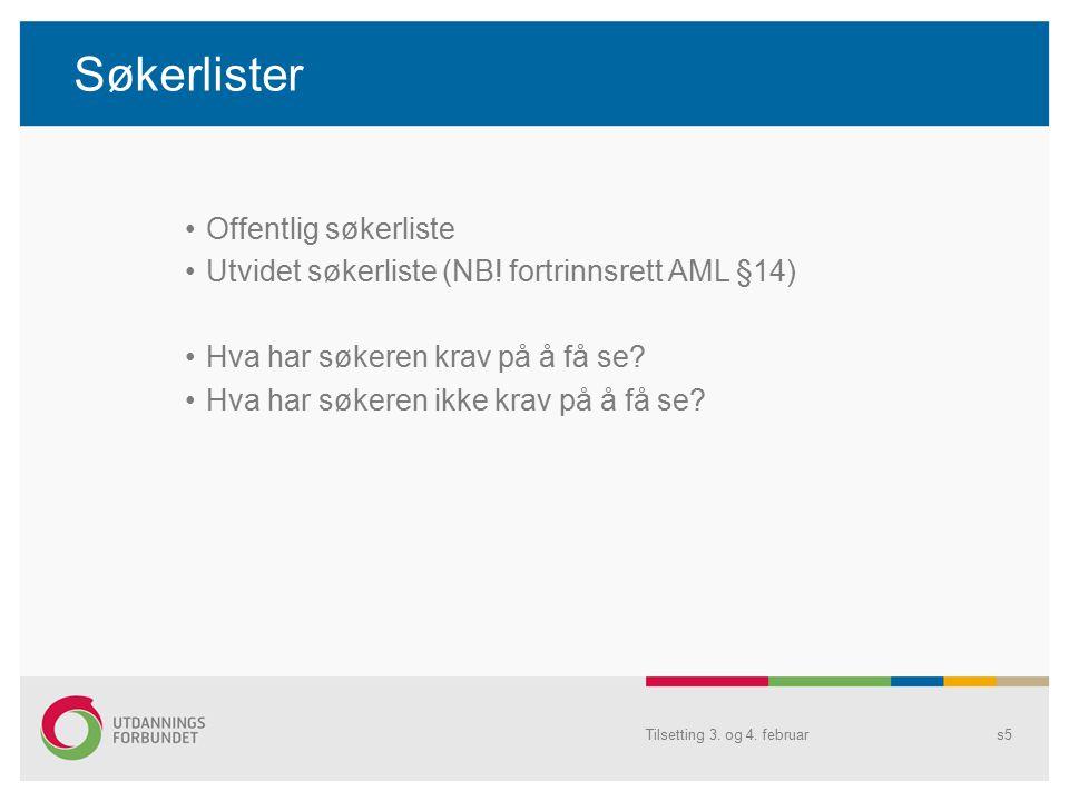 Søkerlister Offentlig søkerliste Utvidet søkerliste (NB.