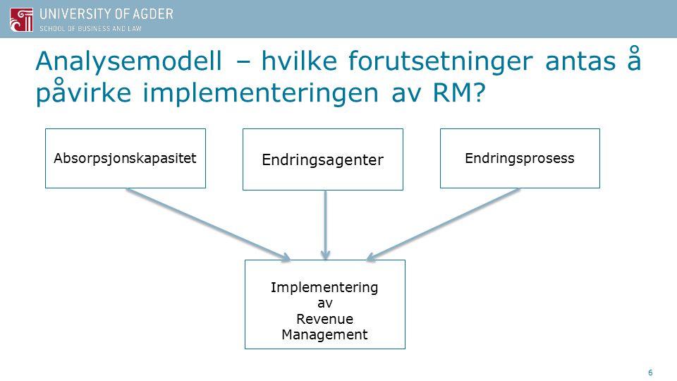 Analysemodell – hvilke forutsetninger antas å påvirke implementeringen av RM.
