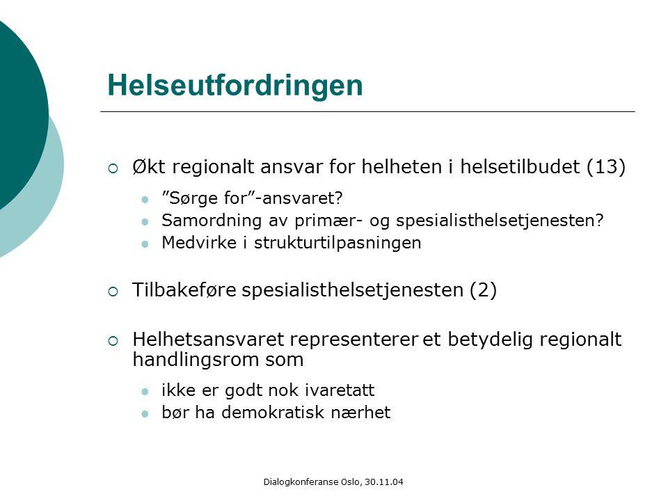 Dialogkonferanse Oslo, 30.11.04 Helseutfordringen  Økt regionalt ansvar for helheten i helsetilbudet (13) Sørge for -ansvaret.