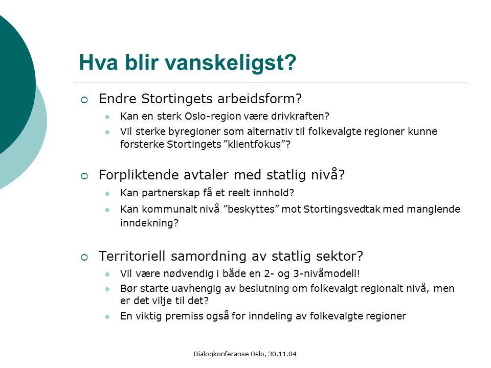 Dialogkonferanse Oslo, 30.11.04 Hva blir vanskeligst?  Endre Stortingets arbeidsform? Kan en sterk Oslo-region være drivkraften? Vil sterke byregione