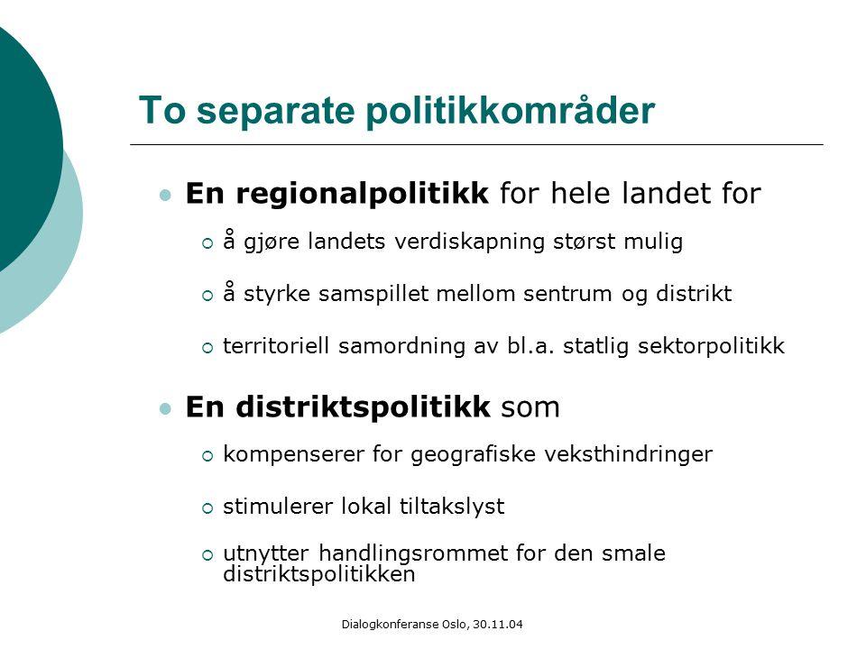 Dialogkonferanse Oslo, 30.11.04 To separate politikkområder En regionalpolitikk for hele landet for  å gjøre landets verdiskapning størst mulig  å styrke samspillet mellom sentrum og distrikt  territoriell samordning av bl.a.