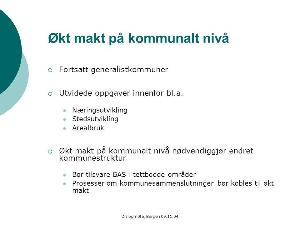 Dialogmøte, Bergen 09.11.04 Økt makt på kommunalt nivå  Fortsatt generalistkommuner  Utvidede oppgaver innenfor bl.a. Næringsutvikling Stedsutviklin