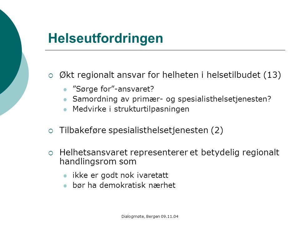 """Dialogmøte, Bergen 09.11.04 Helseutfordringen  Økt regionalt ansvar for helheten i helsetilbudet (13) """"Sørge for""""-ansvaret? Samordning av primær- og"""