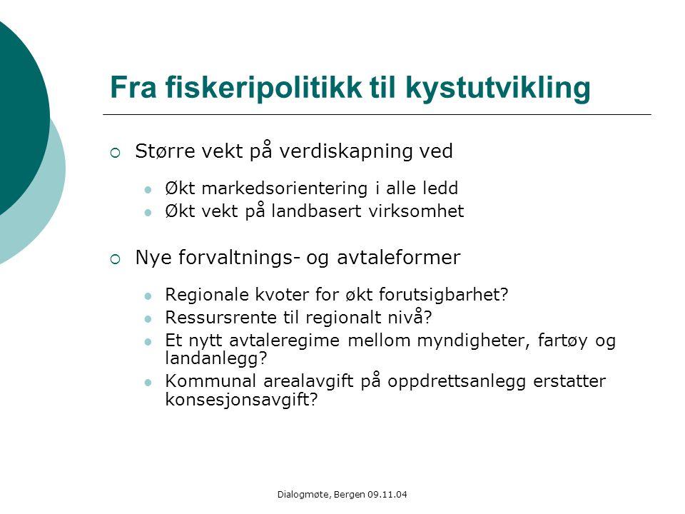 Dialogmøte, Bergen 09.11.04 Fra fiskeripolitikk til kystutvikling  Større vekt på verdiskapning ved Økt markedsorientering i alle ledd Økt vekt på la
