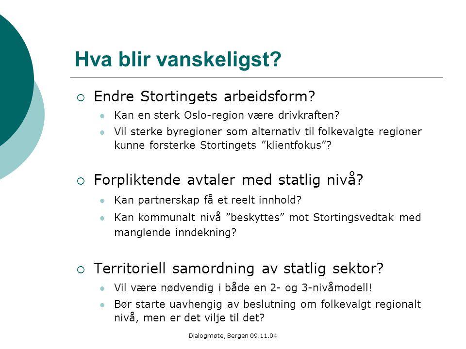 Dialogmøte, Bergen 09.11.04 Hva blir vanskeligst?  Endre Stortingets arbeidsform? Kan en sterk Oslo-region være drivkraften? Vil sterke byregioner so
