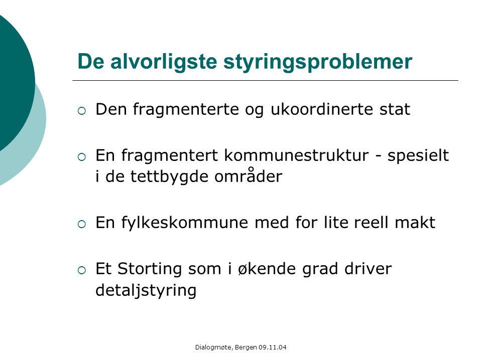 Dialogmøte, Bergen 09.11.04 De alvorligste styringsproblemer  Den fragmenterte og ukoordinerte stat  En fragmentert kommunestruktur - spesielt i de