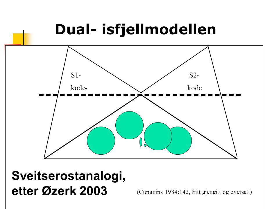 Dual- isfjellmodellen S1- S2- kode- (Cummins 1984:143, fritt gjengitt og oversatt) Sveitserostanalogi, etter Øzerk 2003