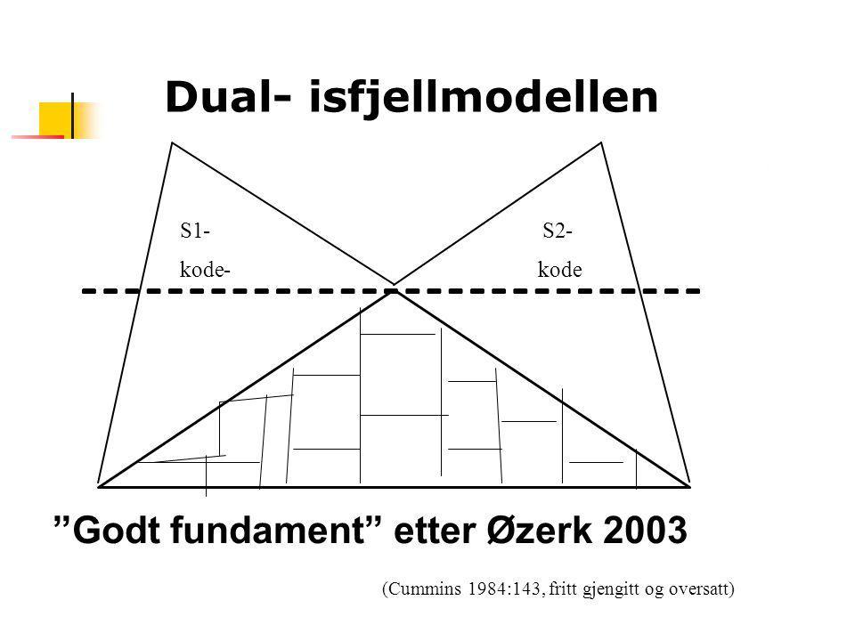 """Dual- isfjellmodellen S1- S2- kode- (Cummins 1984:143, fritt gjengitt og oversatt) """"Godt fundament"""" etter Øzerk 2003"""
