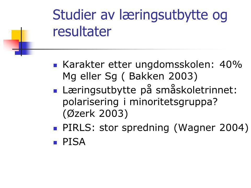Studier av læringsutbytte og resultater Karakter etter ungdomsskolen: 40% Mg eller Sg ( Bakken 2003) Læringsutbytte på småskoletrinnet: polarisering i minoritetsgruppa.