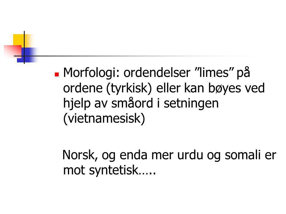 """Morfologi: ordendelser """"limes"""" på ordene (tyrkisk) eller kan bøyes ved hjelp av småord i setningen (vietnamesisk) Norsk, og enda mer urdu og somali er"""