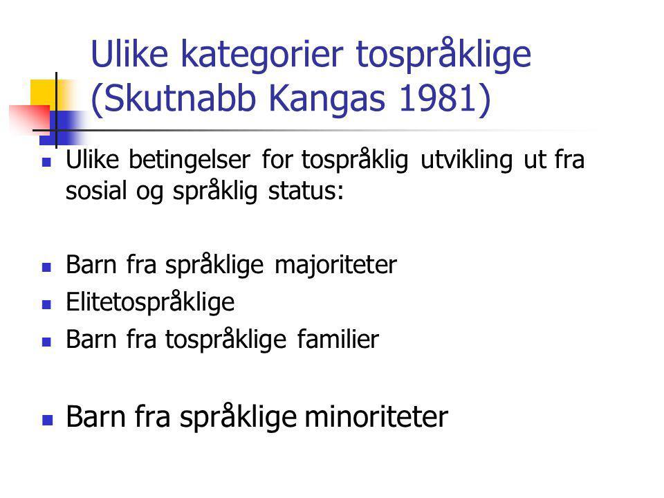 Ulike kategorier tospråklige (Skutnabb Kangas 1981) Ulike betingelser for tospråklig utvikling ut fra sosial og språklig status: Barn fra språklige majoriteter Elitetospråklige Barn fra tospråklige familier Barn fra språklige minoriteter