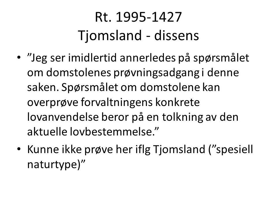 """Rt. 1995-1427 Tjomsland - dissens """"Jeg ser imidlertid annerledes på spørsmålet om domstolenes prøvningsadgang i denne saken. Spørsmålet om domstolene"""