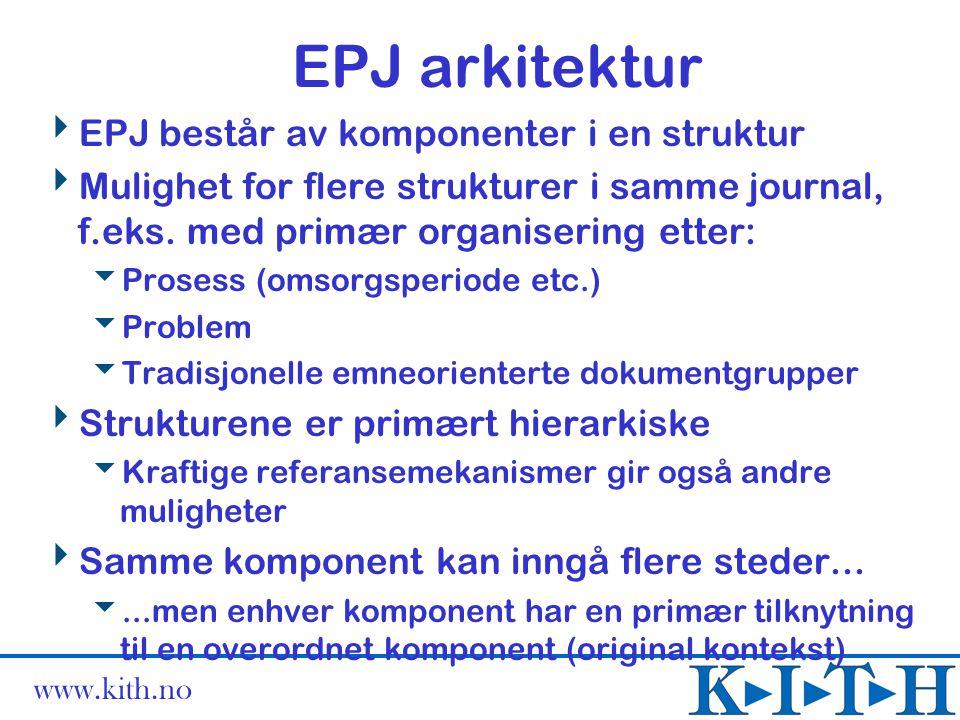www.kith.no EPJ arkitektur  EPJ består av komponenter i en struktur  Mulighet for flere strukturer i samme journal, f.eks. med primær organisering e