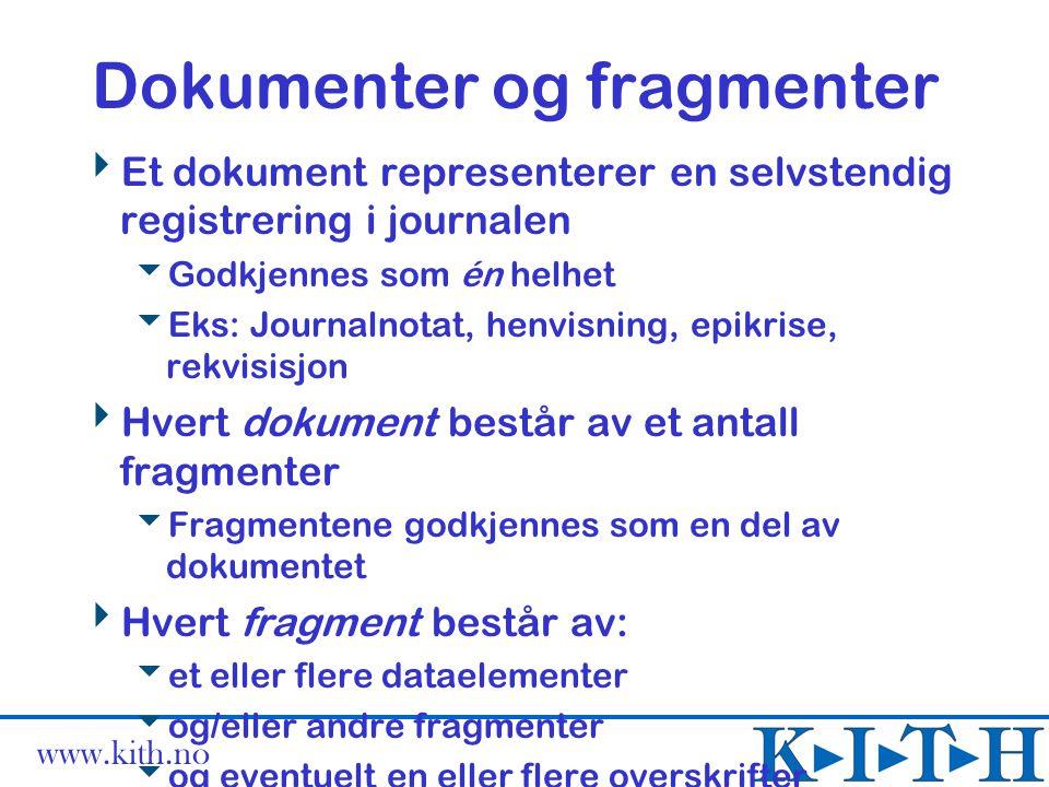www.kith.no Dokumenter og fragmenter  Et dokument representerer en selvstendig registrering i journalen  Godkjennes som én helhet  Eks: Journalnota