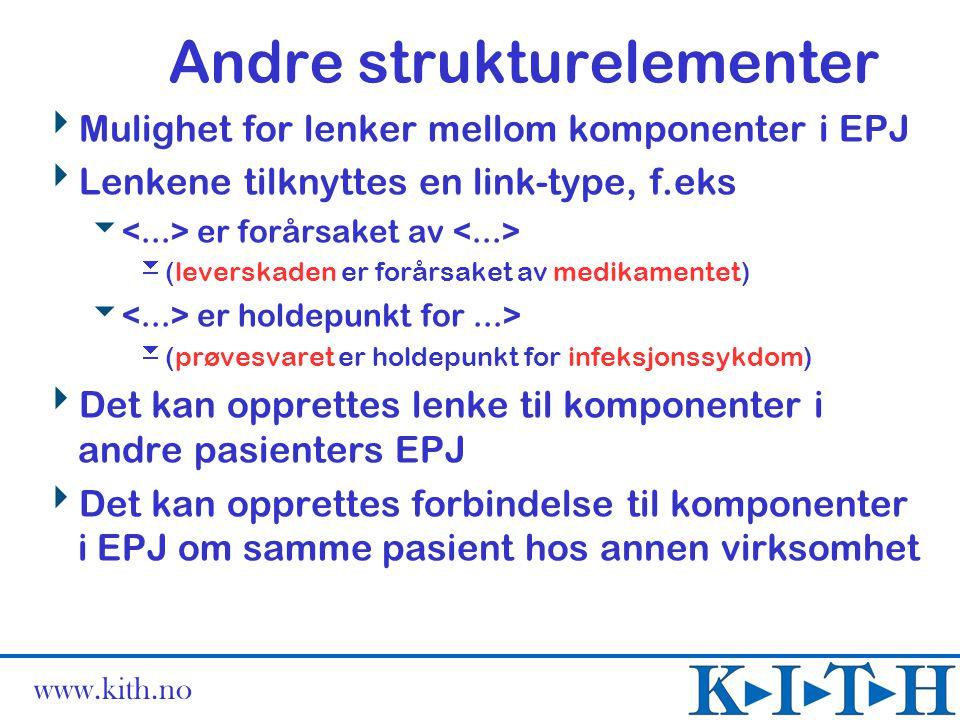 www.kith.no Andre strukturelementer  Mulighet for lenker mellom komponenter i EPJ  Lenkene tilknyttes en link-type, f.eks  er forårsaket av  (leve