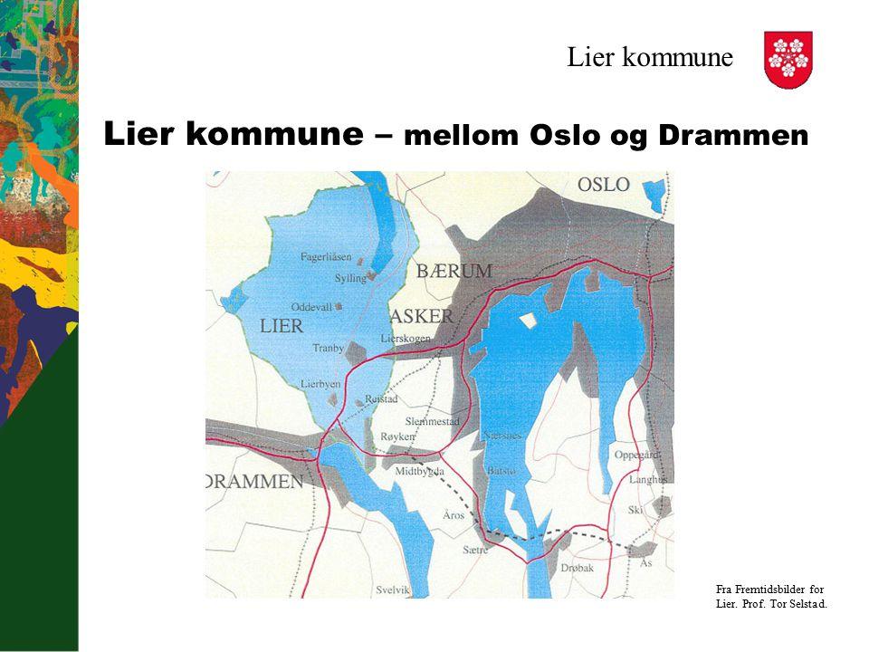 Lier kommune Lier kommune – mellom Oslo og Drammen Fra Fremtidsbilder for Lier. Prof. Tor Selstad.