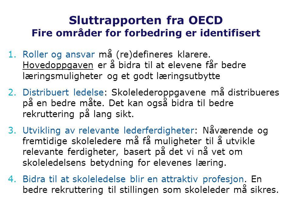 Sluttrapporten fra OECD Fire områder for forbedring er identifisert 1.Roller og ansvar må (re)defineres klarere.