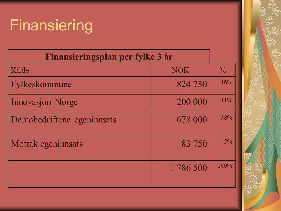 Finansiering Finansieringsplan per fylke 3 år Kilde:NOK% Fylkeskommune824 750 46% Innovasjon Norge200 000 11% Demobedriftene egeninnsats 678 000 38% Mottak egeninnsats 83 750 5% 1 786 500 100%