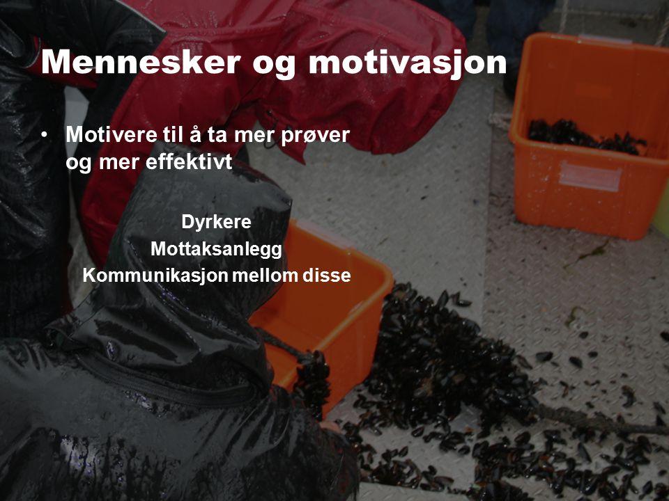 Mennesker og motivasjon Motivere til å ta mer prøver og mer effektivt Dyrkere Mottaksanlegg Kommunikasjon mellom disse