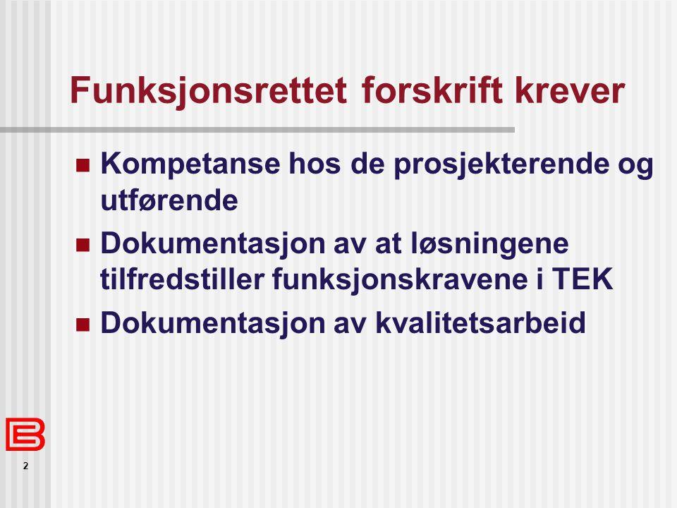 2 Funksjonsrettet forskrift krever Kompetanse hos de prosjekterende og utførende Dokumentasjon av at løsningene tilfredstiller funksjonskravene i TEK