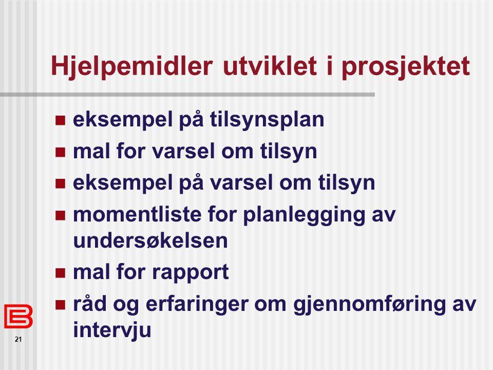 21 Hjelpemidler utviklet i prosjektet eksempel på tilsynsplan mal for varsel om tilsyn eksempel på varsel om tilsyn momentliste for planlegging av und