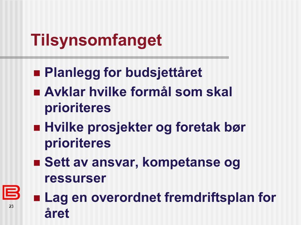 23 Tilsynsomfanget Planlegg for budsjettåret Avklar hvilke formål som skal prioriteres Hvilke prosjekter og foretak bør prioriteres Sett av ansvar, ko