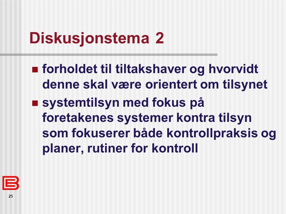 25 Diskusjonstema 2 forholdet til tiltakshaver og hvorvidt denne skal være orientert om tilsynet systemtilsyn med fokus på foretakenes systemer kontra