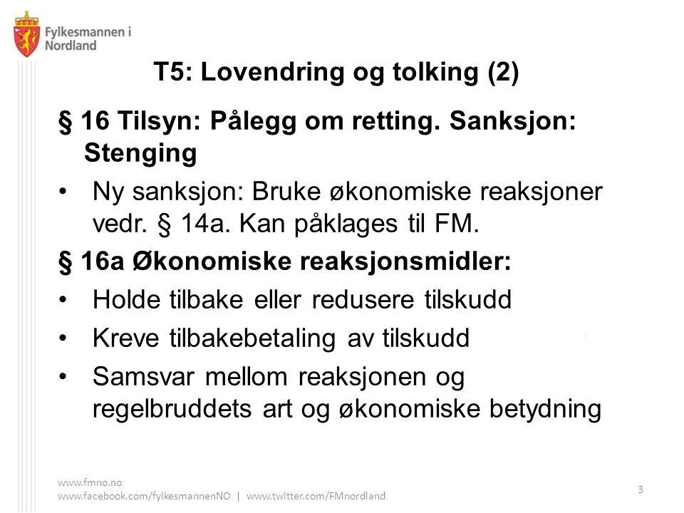 T5: Lovendring og tolking (2) § 16 Tilsyn: Pålegg om retting. Sanksjon: Stenging Ny sanksjon: Bruke økonomiske reaksjoner vedr. § 14a. Kan påklages ti