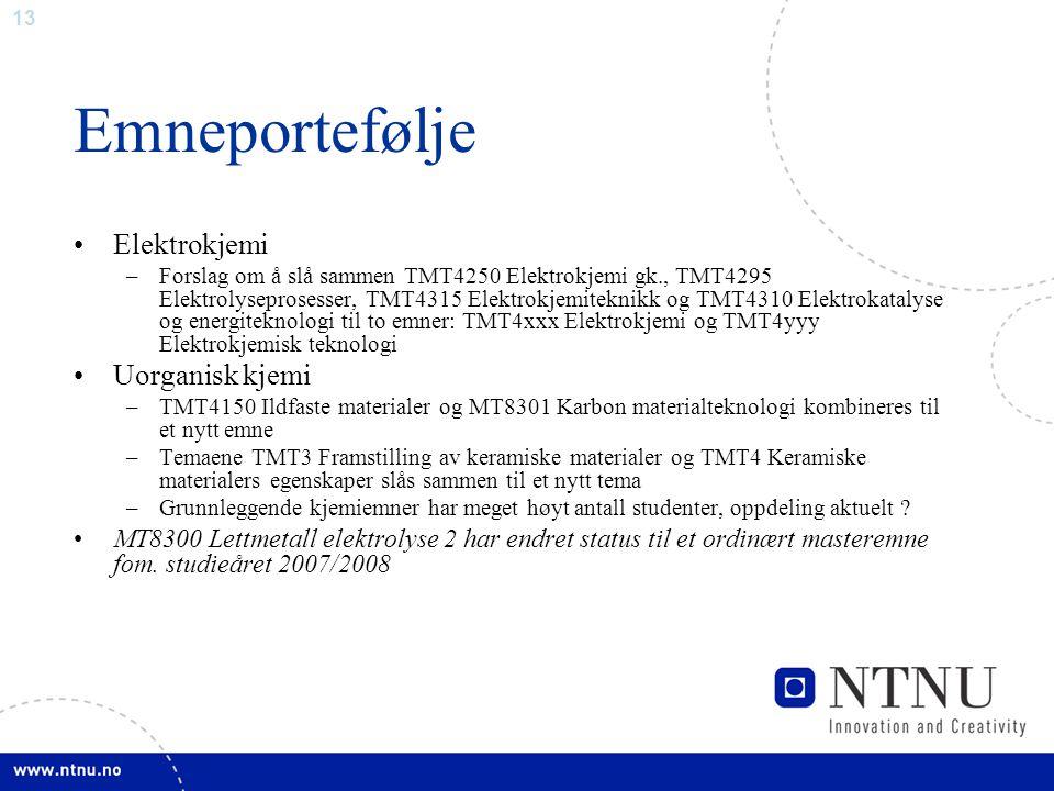 13 Emneportefølje Elektrokjemi –Forslag om å slå sammen TMT4250 Elektrokjemi gk., TMT4295 Elektrolyseprosesser, TMT4315 Elektrokjemiteknikk og TMT4310 Elektrokatalyse og energiteknologi til to emner: TMT4xxx Elektrokjemi og TMT4yyy Elektrokjemisk teknologi Uorganisk kjemi –TMT4150 Ildfaste materialer og MT8301 Karbon materialteknologi kombineres til et nytt emne –Temaene TMT3 Framstilling av keramiske materialer og TMT4 Keramiske materialers egenskaper slås sammen til et nytt tema –Grunnleggende kjemiemner har meget høyt antall studenter, oppdeling aktuelt .