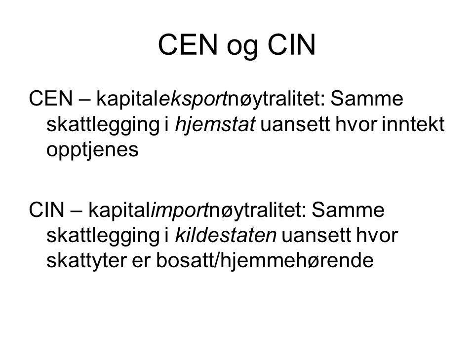 CEN og CIN CEN – kapitaleksportnøytralitet: Samme skattlegging i hjemstat uansett hvor inntekt opptjenes CIN – kapitalimportnøytralitet: Samme skattlegging i kildestaten uansett hvor skattyter er bosatt/hjemmehørende