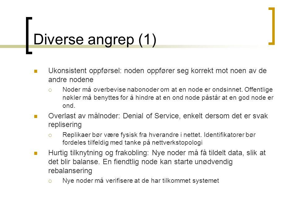 Diverse angrep (2) Spontane meldinger: Hvis oppslag blir gjort via en ondsinnet node, kan denne noden forfalske svarmeldinger fra noden oppslaget blir rutet til  Kan bruke MACs (Message Authentication Codes) og digitale signaturer.
