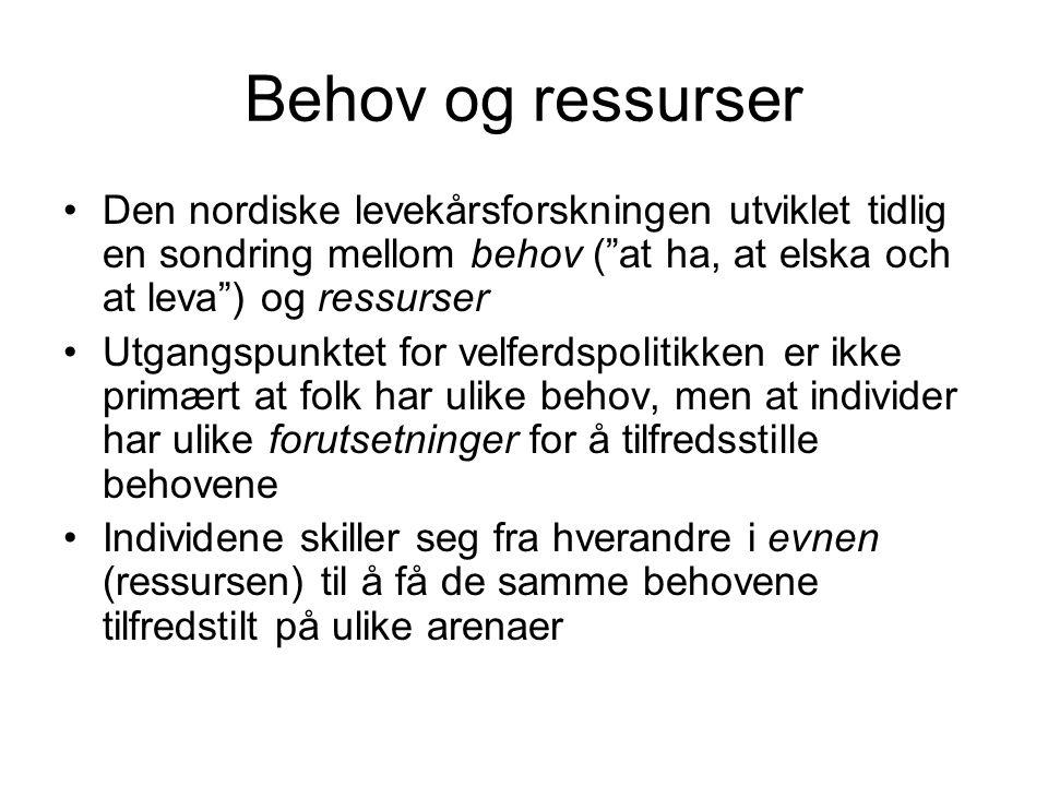 """Behov og ressurser Den nordiske levekårsforskningen utviklet tidlig en sondring mellom behov (""""at ha, at elska och at leva"""") og ressurser Utgangspunkt"""