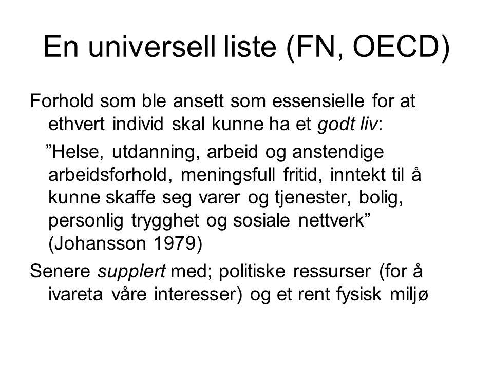 """En universell liste (FN, OECD) Forhold som ble ansett som essensielle for at ethvert individ skal kunne ha et godt liv: """"Helse, utdanning, arbeid og a"""