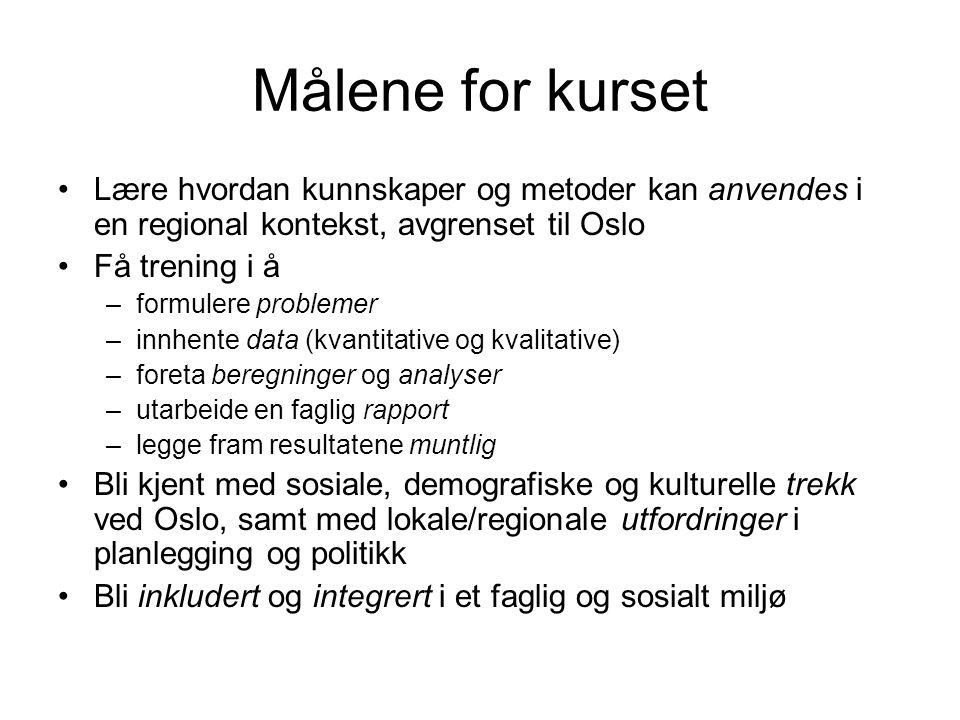 Målene for kurset Lære hvordan kunnskaper og metoder kan anvendes i en regional kontekst, avgrenset til Oslo Få trening i å –formulere problemer –innh